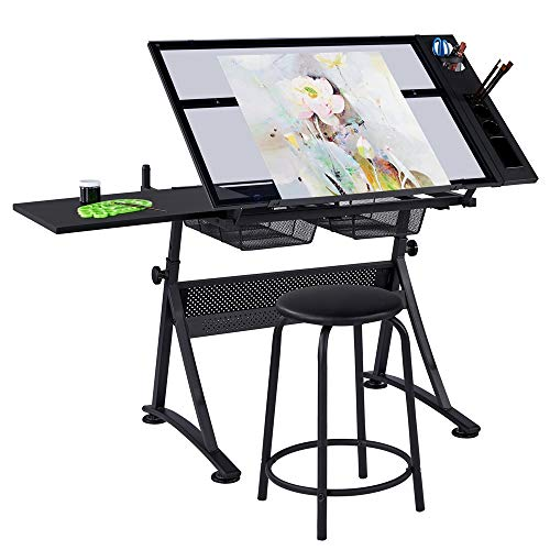 YAHEETECH Drawing Table Art Artist Desk Craft Station Study Table Tempered Glass Top with Salon Stool