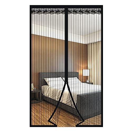 Zanzariera Magnetica per Porte Anti Zanzare Calamite Tenda Anti Zanzare Insetti Facile da installare per ideale per porte da balcone, cantine, terrazze (Nero, 120 * 220cm)