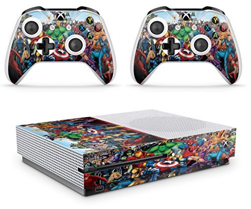 giZmoZ n gadgetZ GNG Xbox One S Konsolen-Gehäuseaufkleber, Motiv: Marvel inklusive 2er-Set mit Aufklebern für Controller