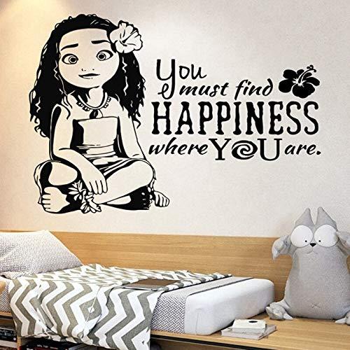 Pegatina de vinilo para pared de Moana, personaje de película, princesa, decoración del hogar para niños, sala de estar, dormitorio, decoración de ventana y aula