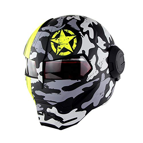 Full Face Motorradhelm Offroad High-End Schädel Ghost Claw Persönlichkeit Retro Style Transformers Helm Camouflage Spots Helles Schwarz,M