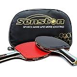Senston ITTF Table Tennis Racket Bat Set, Pingpong Paddle with 2 Bats(Shake Hands Grips)