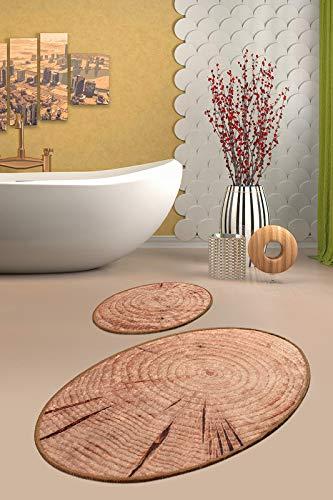 NERGE.BE   Badezimmer-Teppich Motiv Holz   Badgarnitur Set, Badematten Set, Badteppich Set, Badvorleger Set   Größen 60x100 cm - 50x60 cm