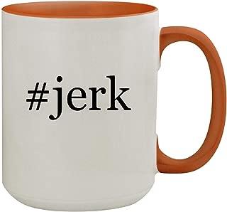 #jerk - 15oz Hashtag Colored Inner & Handle Ceramic Coffee Mug, Orange