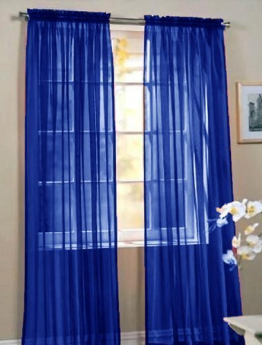 Elegant Comfort 2 Piece Solid Sheer Panel with Rod Pocket - Window Curtain 60-inch Width X 84-inch Length - Neon Blue