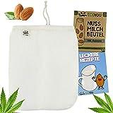 EcoYou® Nussmilchbeutel Bio waschbar aus Hanf Veganer Nussmilch Beutel inkl. leckeren Rezepten Hochwertiges Passiertuch 30 cm nut Milk Bag, Mandelmilch Tuch, Filter-Beutel, Filtertuch Saft