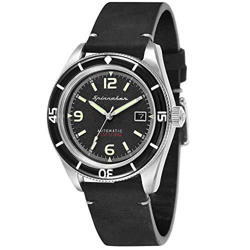 SPINNAKER Men's Fleuss 43mm Leather Band Steel Case Automatic Watch SP-5055-02