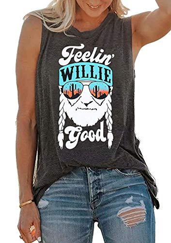 SUNFLYLIG Feelin' Willie Good Letters Graphic Tank Tops for Women Cactus Print Sleeveless T Shirt Muscle Workout Blouse Vest (Grey, Large)