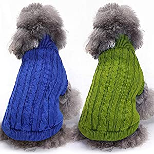 Geyoga 2 Pieces Dog Sweater Pet Warm Knitwear Winter Doggie Clothes Turtleneck Dog Pullover Puppy Cat Classic Knit Sweater for Small Dogs Chihuahua Schnauzer Dachshund