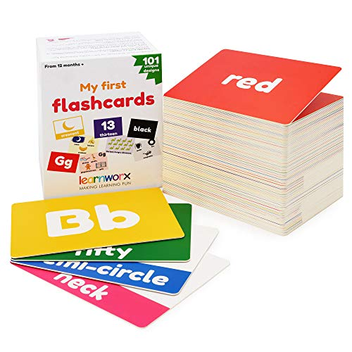 My First Flash Cards for Toddlers - 101 Cards - 202 Sides - Learn Shapes, Numbers, Colors, Body Parts, Counting, Letters & More - Fun Learning and Educational Flashcards
