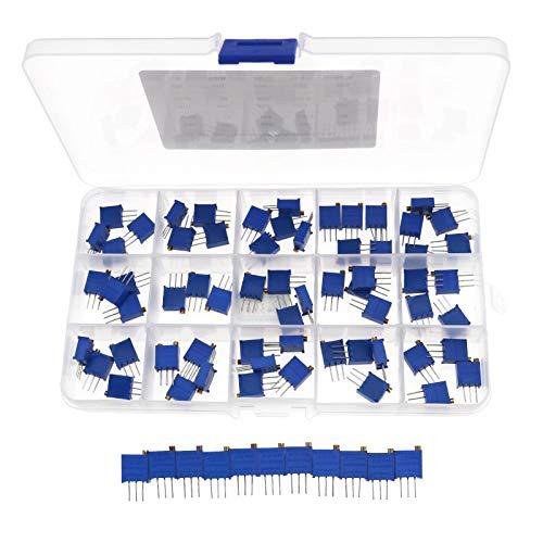 75Pcs15 Werte Multi Turn Variabler Widerstand Potentiometer Trimmer Sortiment Kit 50R-2M Ohm 500-205 3926W Top Einstellbarer Widerstand