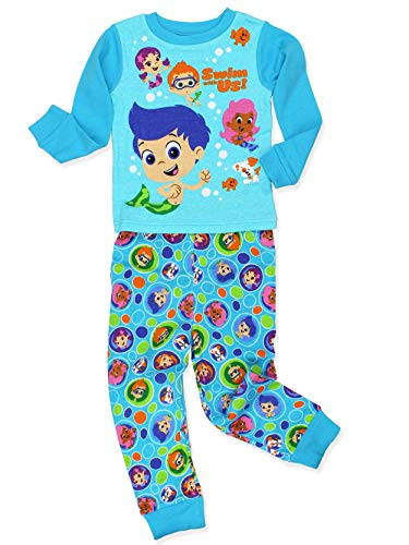 Bubble Guppies Toddler Boy's Girl's 2 Piece Long Sleeve Cotton Pajamas Set (5T, Blue)
