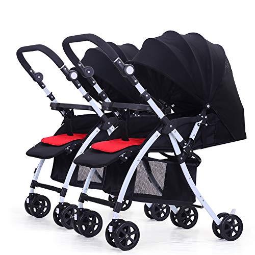 TY-Baby trolley Mmm @ Poussette de jumeau de bébé, Double Chariot Infantile détachable inversant la poignée Pliable légère de Chariot de bébé réglable réglable Chariot ( Color : Noir )
