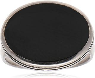 خاتم ملكي من الفضة الاسترليني للرجال مع حجر أسود من عتيق