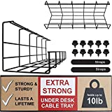 Under Desk Cable Tray - Super Sturdy Cable Organizer for Wire Management. Metal Wire Cable Tray for Office, Studio and Home (Black - Set of 2X 16'')