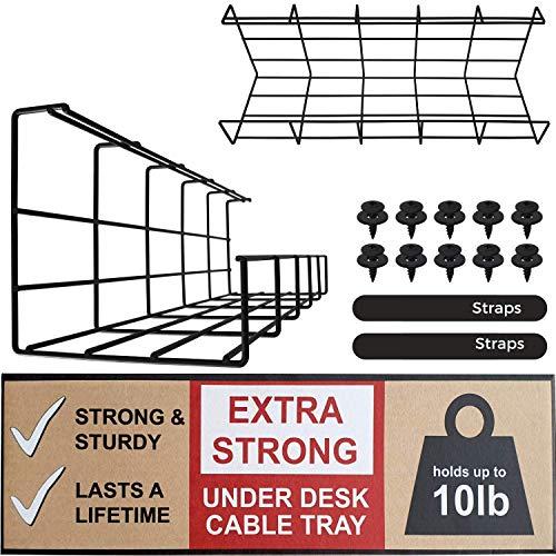 Kabelkanal Schreibtisch – Super Stabiler Tisch Kabelhalter für Kabelordnung. Metallene Kabelwanne Unter Schreibtisch (Schwarz Schreibtisch Kabelmanagement– Set von 2x 40,5cm)