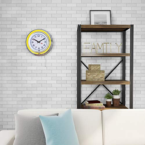 Lavish Home Retro Neon Wall Clock - Battery Operated Wall Clock Vintage Bar Garage Kitchen Game Room – 14 Inch Round Analog (Yellow and White)