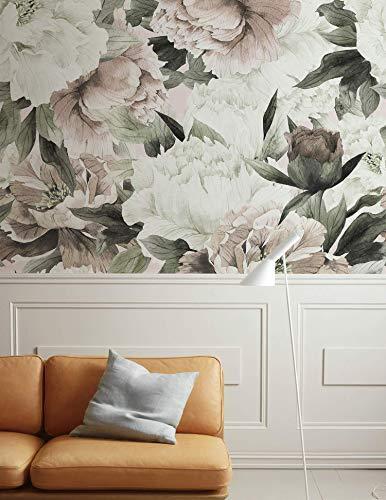 Murwall Floral Wallpaper, Peonies Watercolor Flowers Wall Murals