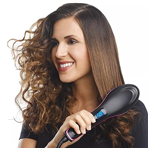 1 Export Hair Electric Comb Brush 3 in 1 Ceramic Fast Hair Straightener for Women's Hair Straightening Brush with LCD Screen, Temperature Control Display,Hair Straightener for Women- (Black)