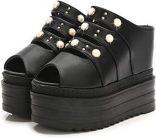 [ドドシューズ] パール付き サンダル レディース 歩きやすい 旅行 厚底 ウェッジソール ミュール サボ ヒール 13cm コンフォートサンダル サボサンダル レディース オープントゥ フストーム付き 厚底サンダル つっかけ 立ち仕事靴