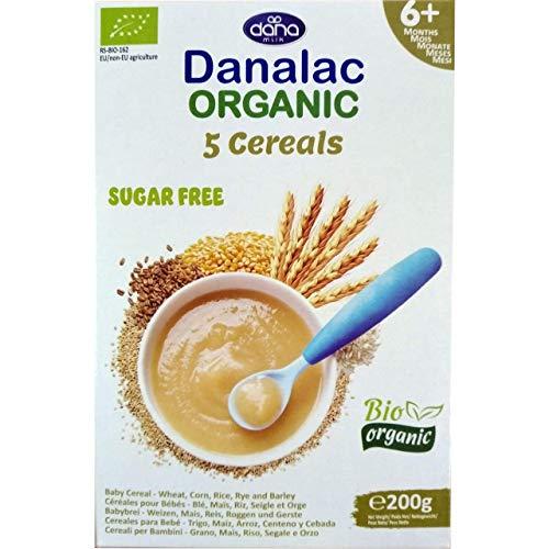 DANALAC Bio Céréales Biologique pour Bébés (Cinq Céréales) 200 g de Porridge Sans Sucres 6 Mois et Plus |Blé, Maïs, Riz, Seigle, Orge (Lot de 1)