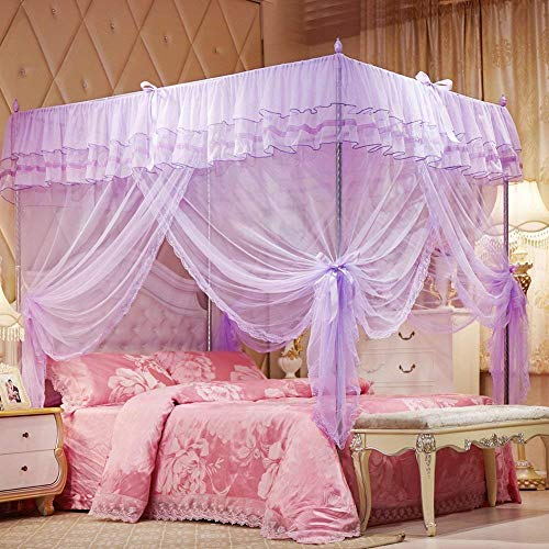 "Uozzi Bedding 4 Corners Post Purple Canopy Bed Curtain for Girls & Adults - Cute Cozy Drape Square Netting for Twin Bed - 4 Opening 47"" W x 78"" L Mosquito Net - Princess Bedroom Decoration"