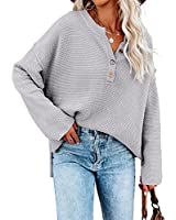 Saodimallsu Women's Oversized Sweaters Batwing Long Sleeve Loose V Neck Button Henley Tops Pullover Knit Jumper Gray