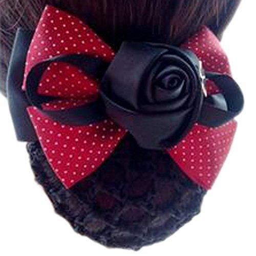 Fleur de dames, élastique, couvre-cheveux, cheveux, cheveux, Snood, Bowtie, mailles, 3 Red Jade Point