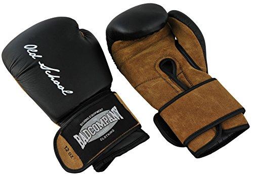 Bad Company Boxhandschuhe aus Leder I Modell Old School I Für das Boxtraining, Sparring und Wettkampf-Boxen I Gewichtsklasse 12 oz I Schwarz/Braun