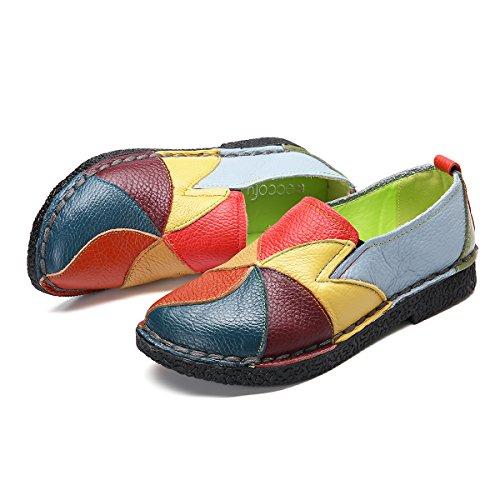 Socofy Damen Mokassins, Slippers Espadrilles Flache Loafers Bootsschuhe Hausschuhe Halbschuhe Freizeit Leder Ultra Bequem Slip-On Gelb 40