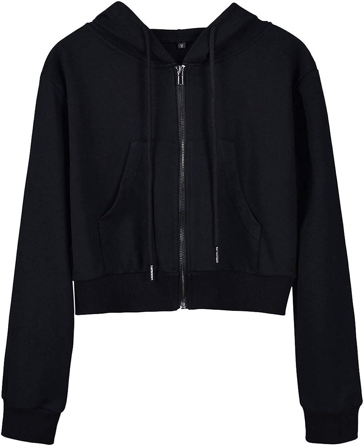 Yimoon Women's Casual Workout Long Sleeve Crop Tops Zip Up Hoodies Sweatshirts