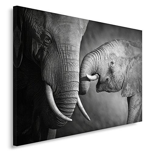 Feeby Frames, Cuadro en lienzo, Cuadro impresión, Cuadro decoración, Canvas 80x120 cm, FAMILIA DE LOS ELEFANTES, BLANCO Y NEGRO