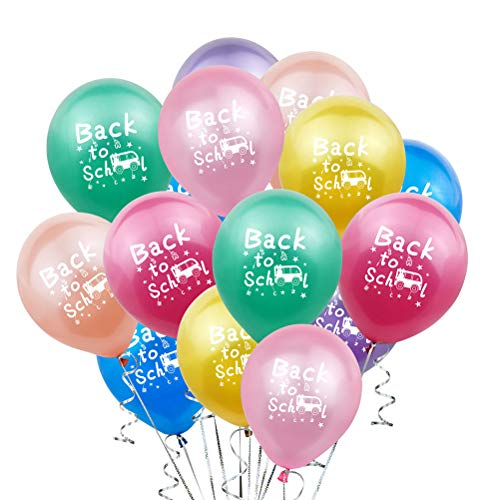 Amosfun 20 Stück Schulballon Welcome Back to School Latex-Luftballons Happy First Day of School Schild für den ersten Tag der Schule Party Dekoration (gemischte Farbe)