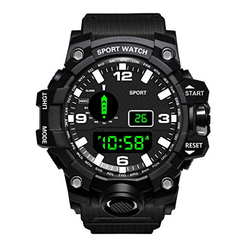 Mens Digital Sports Watches LED Screen Large Face Military Watches for Men Waterproof Casual Watch B031