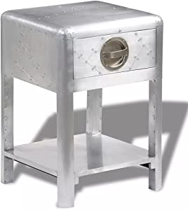vidaXL Aviator End Table with 1 Drawer Vintage Aircraft Airman Style Furniture