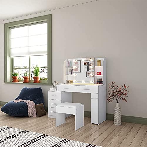 MFLASMF Weißer Schminktisch Schminktische Mit Glühbirnen Set Schminktisch Make-up Tisch 5 Schubladen Mit Schiebespiegel Und Gepolstertem Hocker Für Schlafzimmer Wohnzimmer