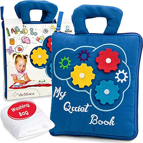 deMoca Quiet Book Montessori Toys for Toddlers – Travel Toy – Educational Toy with 9 Sensory Toddler Activities Busy Book for Boys & Girls + Zipper Bag, Blue