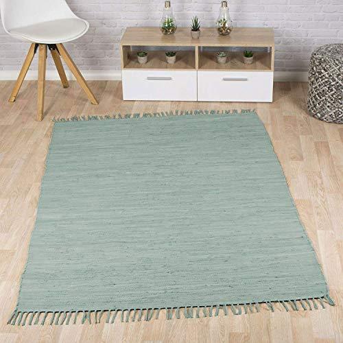 Taracarpet Flachweb-Baumwollteppich handgewebter handweb-Teppich Fleckerl Amrum aus 100{eebc58ff56cefacfff8c302cbb7f16900bf65e1a1510f5483e0c595f594596dd} Baumwolle -auch bekannt als Dhurry oder Flickenteppich Uni Soft Mint 060x120 cm