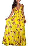 Vestido Largo de Flor Verano para Mujer Vestido Casual sin Mangas de Cuello V Profundo de Espalda Abierta Maxi Vestido Suelto de Playa con Estampado de Flor para Chica (Amarillo, XL)
