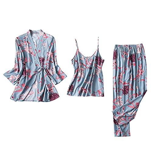 Sexy Unterwäsche Für Frauen Set Transparente Robe Negligee Set Schlaf Tshirt Nachthemd Disney Damen Schlafanzug Damen Frauen Dessous (A1-Blau,L)