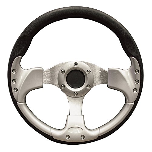 Great Deal! PF12048PKG 13 Inch EZGO Steering Wheel | Black & Silver (TXT with Black Adapter)