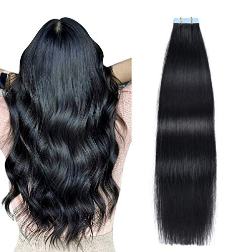 SUYYA Tape in Hair Extensions Black 100% Real Human Hair 20pcs 40g/pack Straight Seamless Skin Weft Tape Hair Extensions Jet Black(14 Inch, 1 Jet Black)