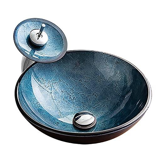 ZYGF Fregadero de vaso, lavabo de baño de vidrio templado con interruptor giratorio de 360°, grifo de cascada, fregadero de baño fácil de limpiar para el lavabo