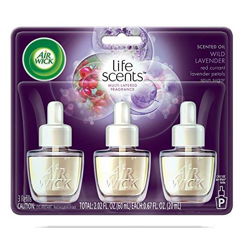 Air Wick plug in Scented Oil 3 Refills, Sweet Lavender Days, (3x0.67oz), Essential Oils, Air Freshener