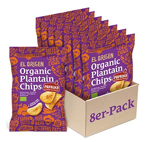 el origen Bio Kochbananen Chips mit Paprika 8er Pack, 8 x 80g