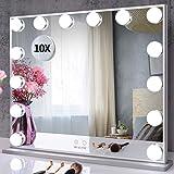 BEAUTME Espejo de tocador grande con luces, espejo de maquillaje iluminado de Hollywood con 14 bombillas LED regulables para vestidor, mesa o montaje en pared, 1 x 10 x espejo cosmético