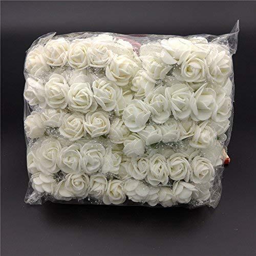 ASOSMOS 144 Teile/Packung Mini Schaum Künstlich Rose Blume Bukett Hochzeit Dekor Handwerk Vorräte - Weiß