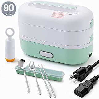 JMCQOO Electric Lunch Box, 1.2L Electric Cooking Lunch Box with Vacuum preservation function, with 304 stainless steel tableware Food Steamer for Office and Home kitchen(Green)