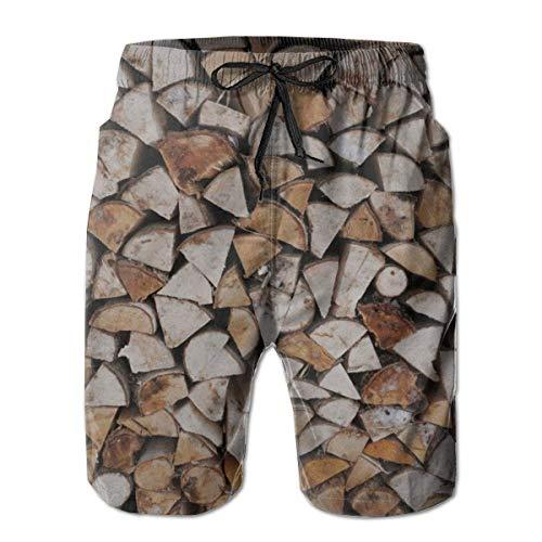 NDNG Stapel Brennholz Holz schnell trocknende elastische Spitze Boardshorts Strand Shorts Hosen Badehose Männer Badeanzug mit Taschen