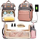 Diaper Bag with Changing Station, Diaper Bag with Bassinet,Baby Gifts for Newborn Girls Boys,Multi-Function Travel Mommy Bag Gray-Pink